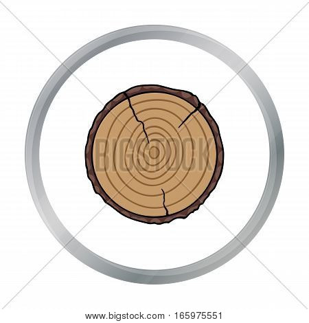 Cross section icon in cartoon style isolated on white background. Sawmill and timber symbol vector illustration.