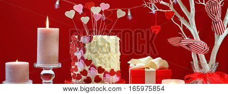 Valentines Day Party Table With Showstopper Hearts Cake Social Media Web Banner