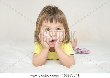 Funny Little Girl Make Face Massage