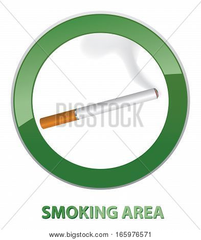 Smoking area label. Smoking Area Sign. Stylish pictogram with lettering Smoking Area