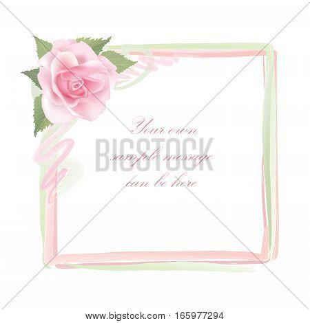 Flower rose frame. Floral spring decor. Gentle flourish background design for greeting card, invitation, holiday, save a date