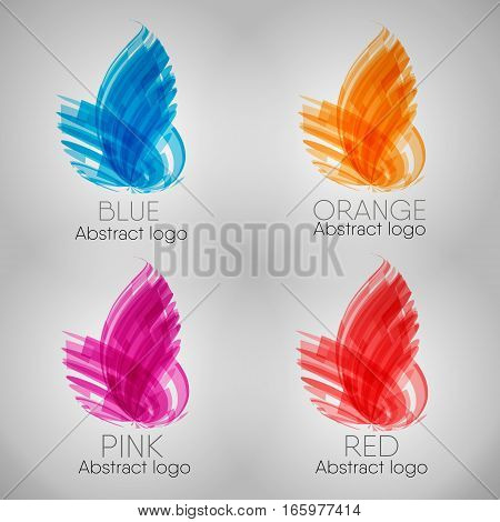 Vector abstract line objects set on grey background. blue red, orange purple line elements, digital modern graphic style curves in motion. Poster, banner, advertisement, print design object