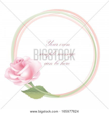 Flower rose bouquet with round shape frame. Floral spring decor. Gentle flourish background design for greeting card, invitation, holiday, save a date