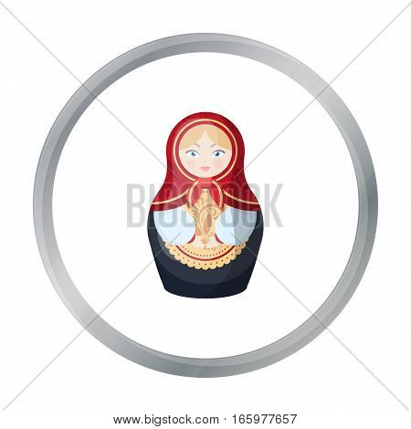 Russian matrioshka icon in cartoon design isolated on white background. Russian country symbol stock vector illustration.