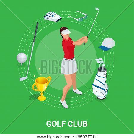Golf club concept. Isometric golfer and apparel. Sport design elements. Flat vector golf set app. Golf stuff. Golf bag, golf car, golf course, golf ball poster