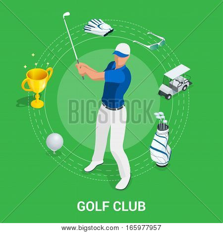 Golf club concept. Isometric golfer and apparel. Sport design elements. Flat vector golf set app. Golf stuff. Golf bag, golf car, golf course, golf ball