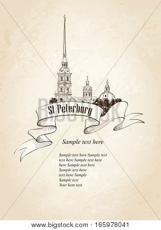 St. Petersburg city landmark, Russia. Saint Peter and Paul Cathedral and Fortress, sunrise view from Neva river. Russian cityscape silhouette engraving over old paper background.