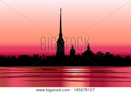 St-peterburg-petropavlovka-sunset
