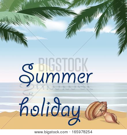 Summer holidays shore background with palm tree leaves and seashell. Sunset View Poster. Beach resort wallpaper.