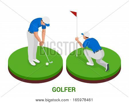 Golf club concept. Isometric golfer and apparel. Sport design elements. Flat vector golf set app. Golf stuff.  golf course, golf ball