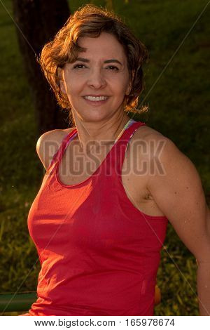 Fit Mature Lady Relaxing After Working Out