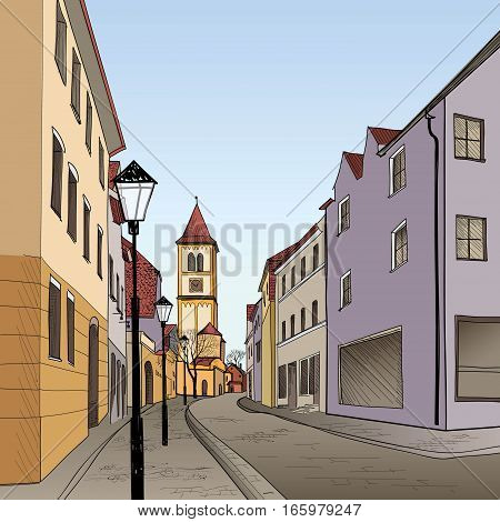 Street in old german city. European cityscape - houses, buildings and tree on alleyway. Old city view. Medieval european castle landscape. Pencil drawn colored sketch