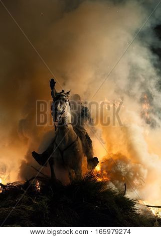 Ritual of purification where the horses through the fire