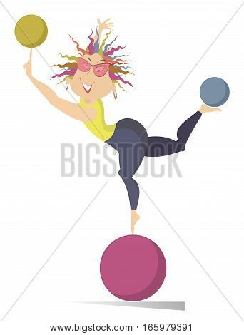 Woman does exercises with the balls. Funny young woman standing on the ball holds others on the finger and on the leg