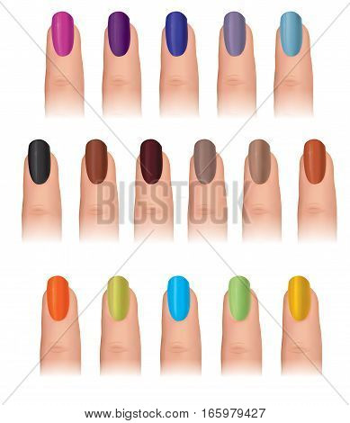Nail polish in different fashion colors. Nail care set. Manicured finger isolated.