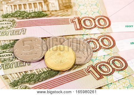 Russian currency: banknotes and coins close up