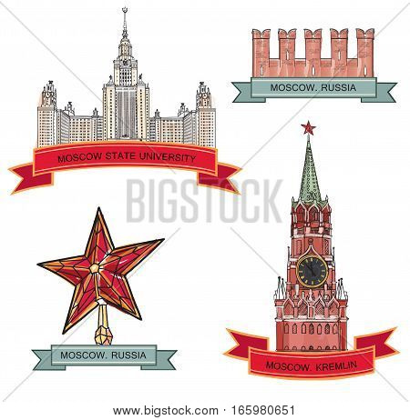 Moscow City Label set. Red brick wall Spasskaya tower Moscow State University Kremlin star. Travel icon engraved collection.
