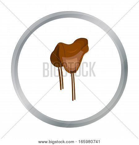 Saddle icon cartoon. Singe western icon from the wild west cartoon. - stock vector