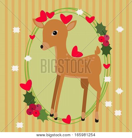 Cute vector card with a fawn and hearts on striped background with white stars.