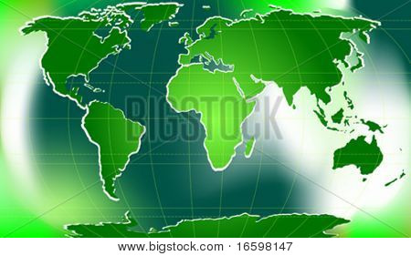 green world map with latitudinal and longitudinal lines