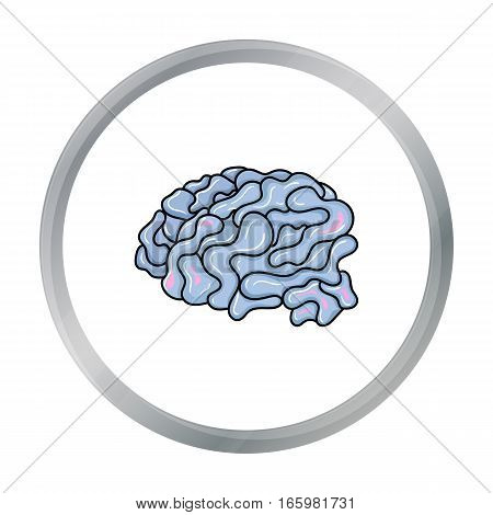 Brain in the virtual reality icon in cartoon style isolated on white background. Virtual reality symbol vector illustration.