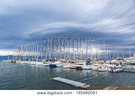 Boats In The Port Of Cagliari, Sardinia, Italy
