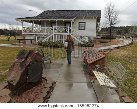PAYSON, ARIZONA, JANUARY 14. The Rim Country Museum on January 14, 2017, in Payson, Arizona. A Woman Tours the Rim Country Museum in Green Valley Park, Payson, Arizona.