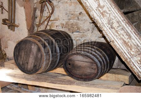 Two ancient wood Wine barrel on the table