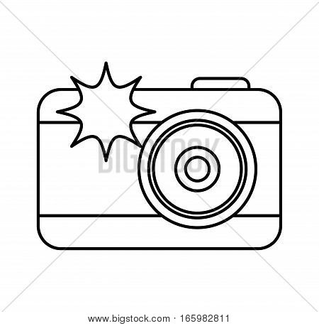 photographic camera with flash icon vector illustration design