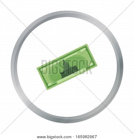 Dollar bill icon in cartoon style isolated on white background. USA country symbol vector illustration.