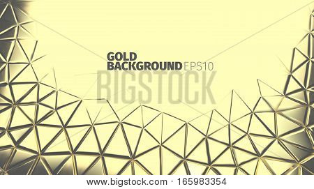 Gold triangular background. Vector luxury banner. Golden backdrop for web or printing