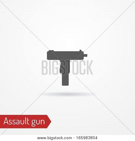 Abstract compact assault firearm. Isolated icon in silhouette style with shadow. Typical gangster or criminal weapon. Military vector stock image.