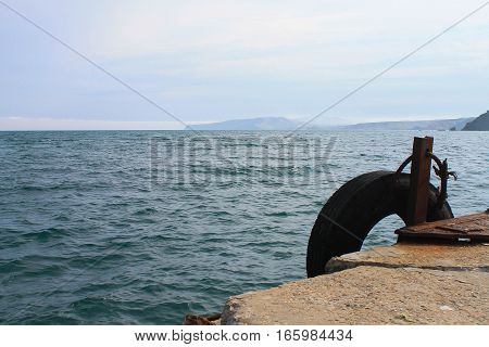 old pier waiting for mooring the ship