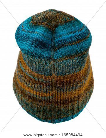 Women's Hat . Knitted Hat Isolated On White Background.multicolored  Hat .