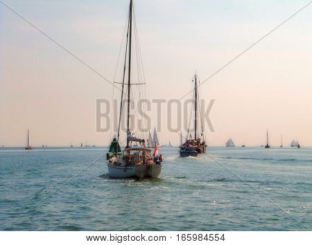 Sailing in Ijssel sea with a rosa sky - Holland