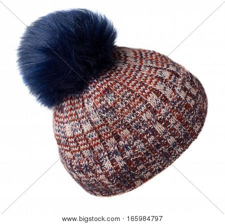 Women's Knitted Hat Isolated On White Background.hat With Pompon.multicolored   Hat .