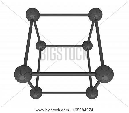 Cube system: soccer balls black and white 3d illustration isolated