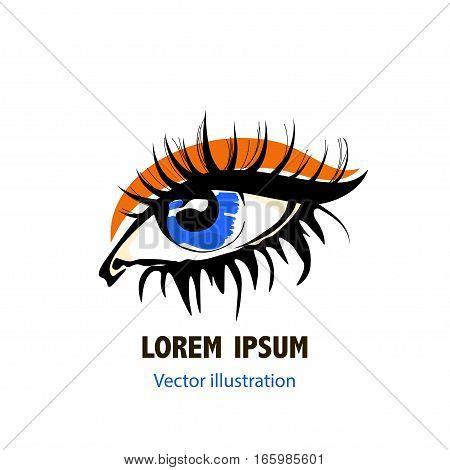 Woman eye logo. Eye vector sketch in fashion style on white background.