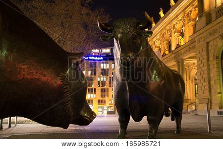 Frankfurt am Main, Hessen Germany - January 19 2017 : The Bull and Bear Statues at the Frankfurt Stock Exchange in Frankfurt Germany. Frankfurt Exchange is the 12th largest exchange by market capitalization.