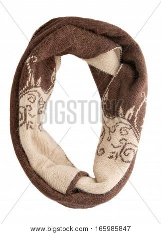 Scarf Isolated On White Background.scarf  Top View .brown Beige Scarf .