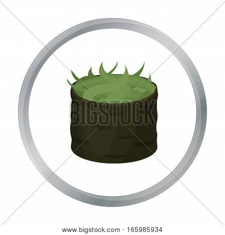 Gunkan maki icon in cartoon style isolated on white background. Sushi symbol vector illustration.