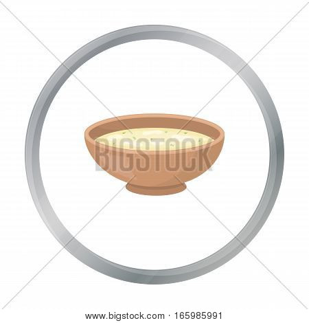 Miso soup icon in cartoon style isolated on white background. Sushi symbol vector illustration.