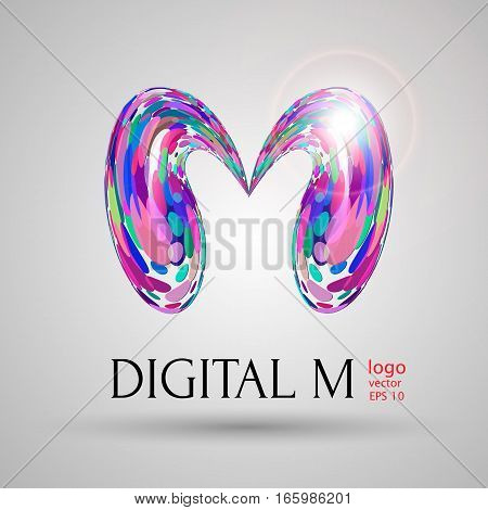 Vector digital modern bubble style M letter vector illustration on light grey background. Logo brand name design element web design poster banner print advertisement. liquid mixed colored purple shade