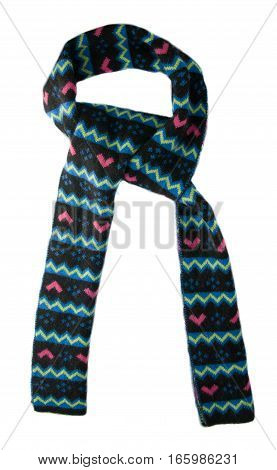 Scarf Isolated On White Background.scarf  Top View .multicolored Scarf Of Black And Blue Colors Pink