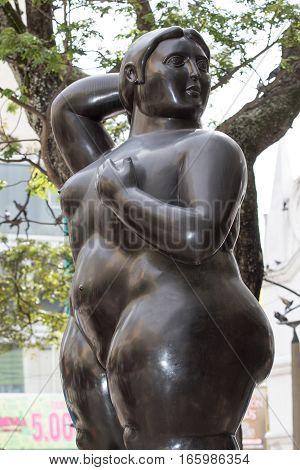 October 16, 2016 Medellin, Colombia: closeup details of Botero's surrealist statue displayed in the plaza named after the author in the city center
