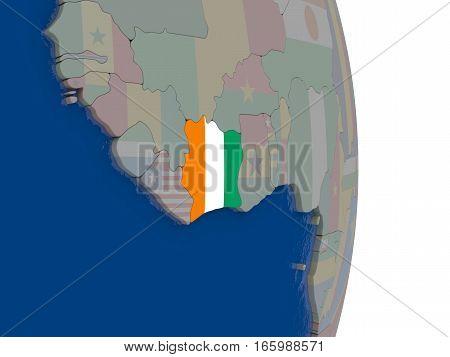 Ivory Coast With Its Flag