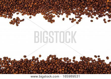 lot of roasted coffee beans on a white background