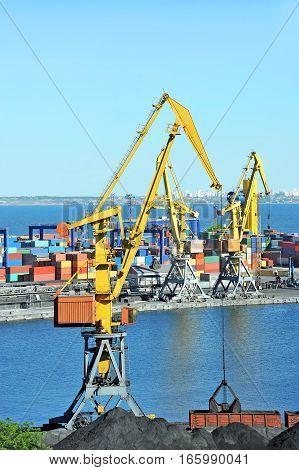 Port Cargo Crane And Coal