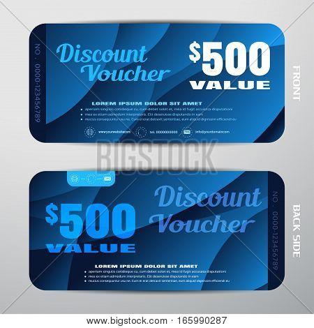 Vector discount voucher on the dark blue gradient background with waves.