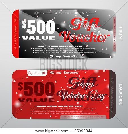 Vector Happy Valentine's Day gift voucher on the gray and red gradient background with stars hearts convex pattern.
